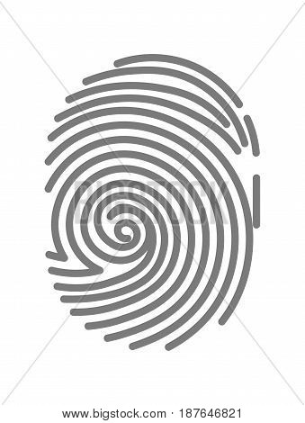 Vector illustration of gray colored minimalistic fingerprint isolated on white.