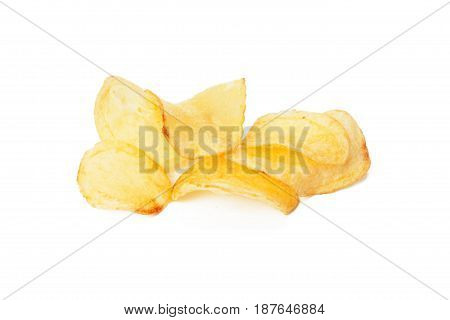 Potato chips isolated on white. close up