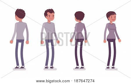 Set of young man and woman, wearing smart casual dressing, grey longsleeve, skinny jeans, standing pose, front, rear view, vector flat style cartoon illustration, isolated on white background