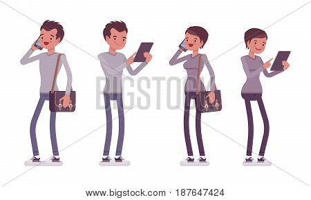 Set of young man and woman, smart casual dressing, skinny jeans, holding messenger bag, standing pose, using gadgets, phone talking, vector flat style cartoon illustration, isolated, white background