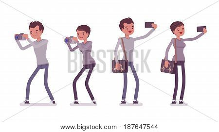 Set of young man and woman, casual dressing, skinny jeans, taking pictures with camera, making selfie with phone, standing pose, vector flat style cartoon illustration, isolated, white background