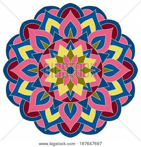 Color mandala vector ethnic pattern, round symmetrical decoration