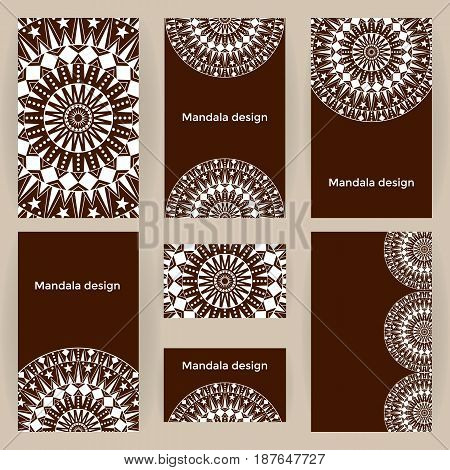 Vector set business forms with mandalas. Cards templates circular vintage decorated Ethnic ornament.