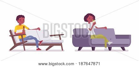 Set of Black or African American young man and woman, sitting at comfortable sofa, drinking beer and coffee, smiling and relaxing, vector flat style cartoon illustration, isolated, white background