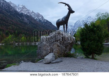 Sculpture of mountain goat - symbol of Julian Alps in Slovenia