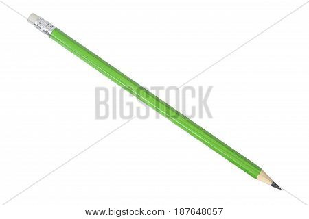 Long green pencil isolated on white background.
