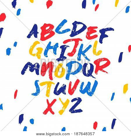 Hand drawn vector alphabet. Letters written with a brush. Blue, red and yellow on white background.