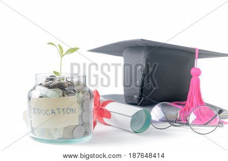 Seedling With Education Money Savings In A Glass Jar
