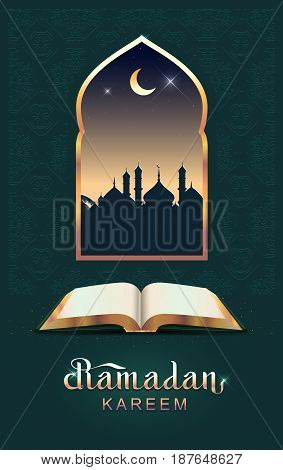 Ramadan kareem open book koran and moon. Template greeting card vector illustration