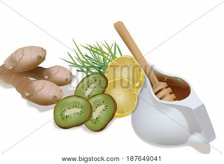 Honey in a pot, Green wheat, lemon and ginger, kiwi for a fresh juice or detox