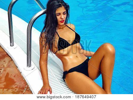 Sexy Hot Beautiful Girl Model With Dark Hair In Stylish Swimwear