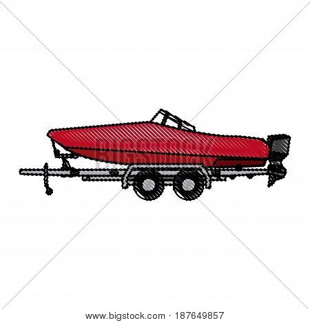 drawn boat with trailer transport maritime image vector illustration