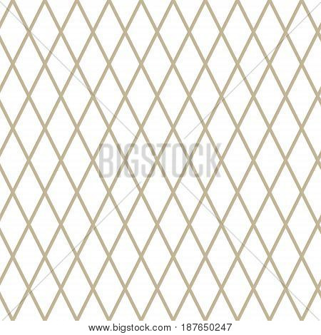 Gold Rhombus on White Background, Seamless Pattern for Fabric and Wrapping Paper, Vector Illustration