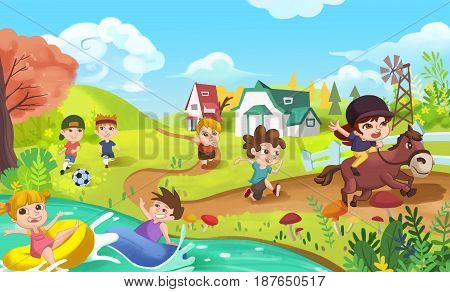 Children are doing Sports like Playing Football, Swimming, Running and Horse Riding. Video Game's Digital CG Artwork, Concept Illustration, Realistic Cartoon Style Background