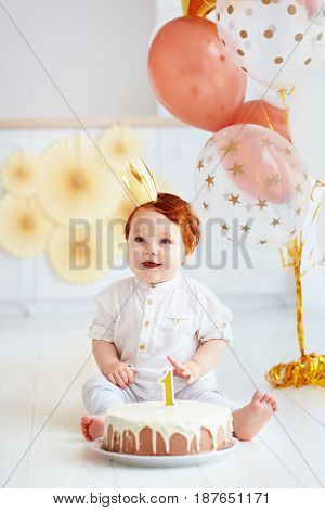 Happy Infant Baby Boy Celebrating His First Birthday
