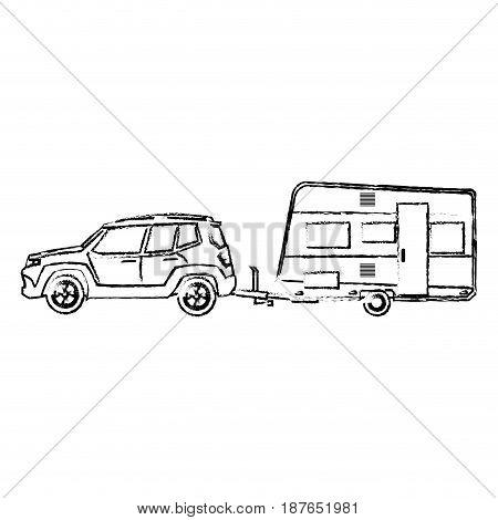 suv car camper trailer travel transport sketch vector illustration