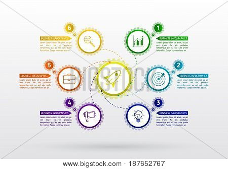 Abstract gears infographic with 6 steps. Mechanism with integrated gears and icons for business presentations or information banner. Modern design of background esp 10