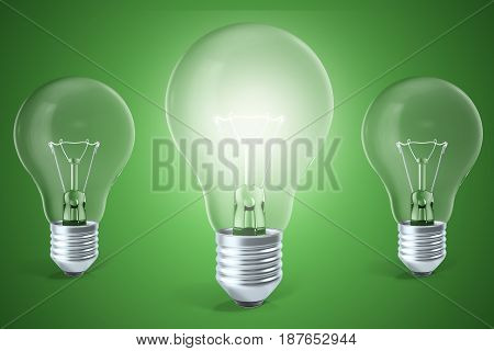 Concept of ideas, innovation, a glowing light bulb in the center, 3d rendering