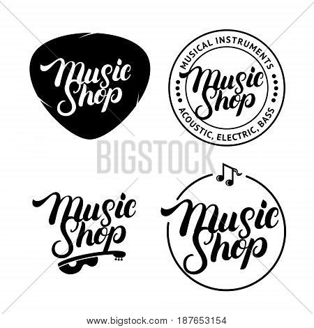 Set of Music Shop hand written lettering logos, labels, badges, emblems. Vintage style. Isolated on white background. Vector illustration.