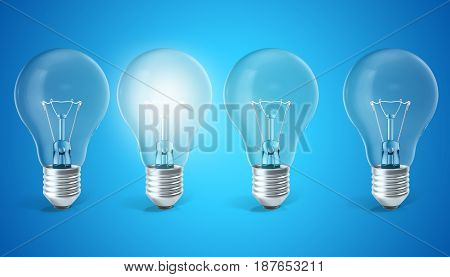 Group of lamp bulbs on blue background with single glowing bulb. Concept innovation ideas. 3d rendering