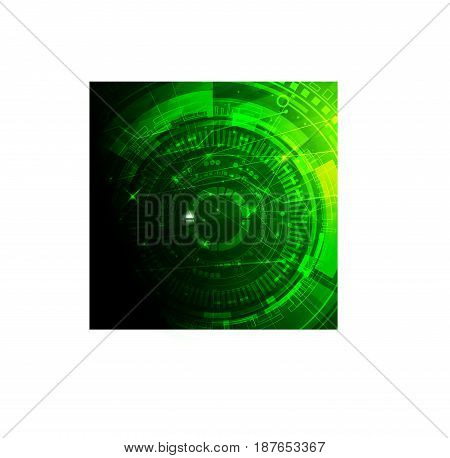Scientific futuristic scientific interface. Vector illustration for your design. Image on white background in green colour