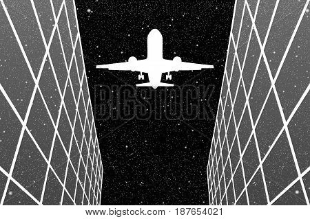 Flying aircraft between glass buildings at night. Vector illustration with silhouette of passenger airplane under starry sky. Black and White