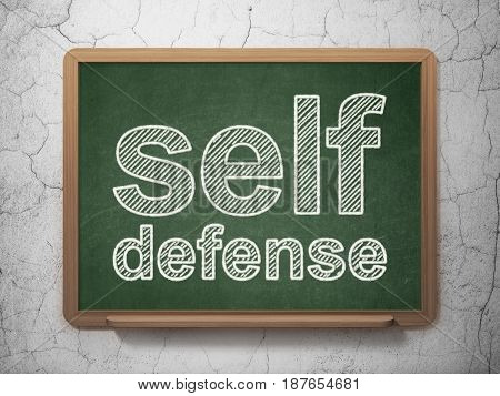 Security concept: text Self Defense on Green chalkboard on grunge wall background, 3D rendering