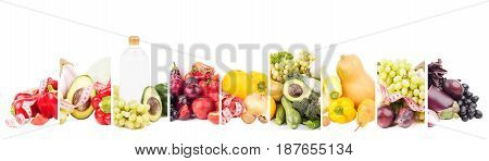 Different sets of fresh raw fruits and vegetables isolated on white
