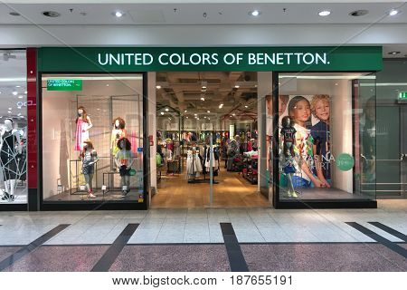 Krakow Poland - May 21 2017: Exterior of United Colors of Benetton store in Krakow. Benetton is a global fashion brand and has stores in 120 countries.