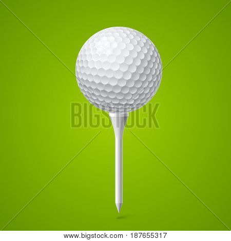 Golf Ball on a White Tee. Illustration on Green Background