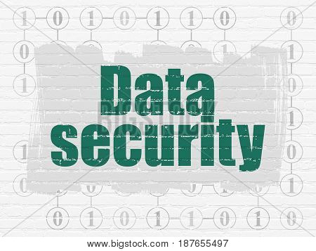 Security concept: Painted green text Data Security on White Brick wall background with Scheme Of Binary Code