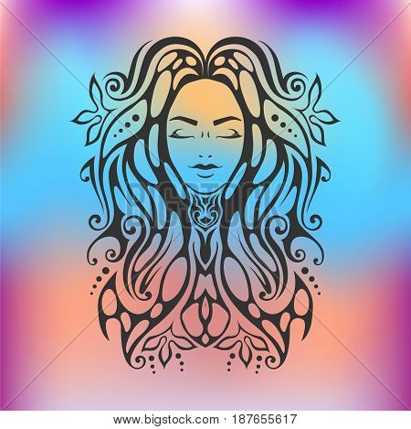 Tribal Tattoo Illustration Of Girl Face With Close Eyes And Hair Beautiful Divine Girl With Ornate H