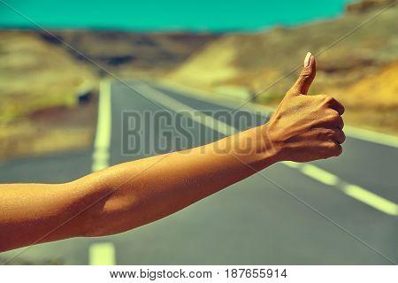 Tourist Hitchhiking Along A Road