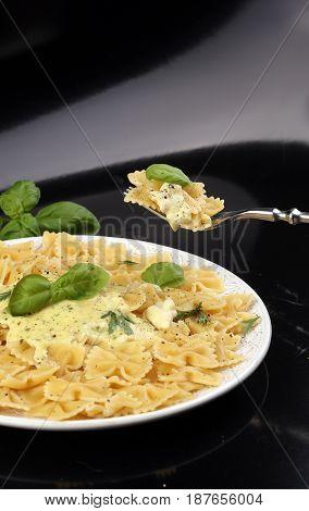 Delicious Creamy Italian Penne Pasta Starter With Pepper Seasoni