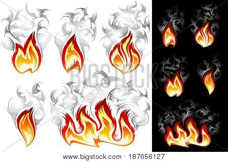 Fire icons with smoke; Vector set of spurts of flame in hand drawing tribal style for t-shirt print design on white and black backgrounds