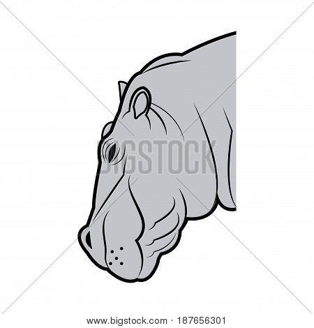 hippo head animal naturalist wildlife style, vector illustration