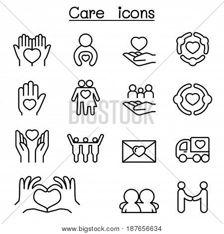Care Charity Kindness icon set in thin line style