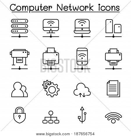 Computer network icon set in thin line style