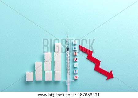 The rise in blood sugar is a graph of the growth of sugar cubes. The fall of sugar in the roiva after the injection of insulin and the arrow down. Diabetes. Empty place for text copy paste
