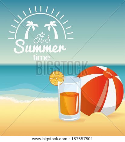Beach ball and cocktail over beach landscape background. Vector illustration.