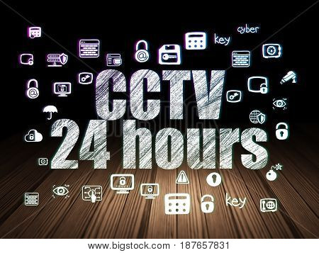Privacy concept: Glowing text CCTV 24 hours,  Hand Drawn Security Icons in grunge dark room with Wooden Floor, black background
