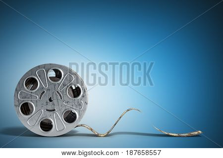 Film Reel With A Film Strip 3D Render On Blue