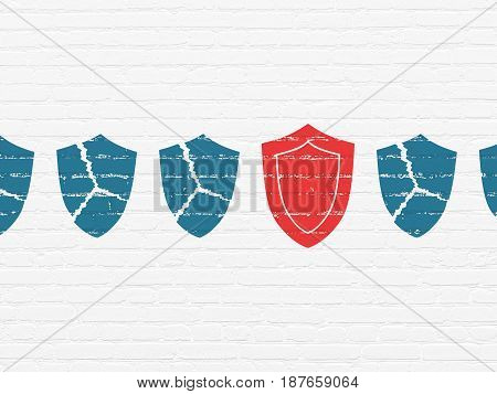 Privacy concept: row of Painted blue broken shield icons around red shield icon on White Brick wall background