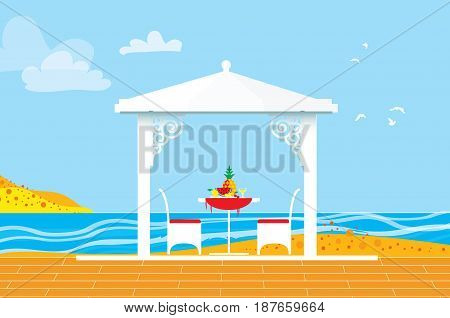 Summer picnic. Sea water landscape. Outdoor recreation. Table with chairs, arbor and pineapple. Dinner with fruit. Vector illustration in flat style.