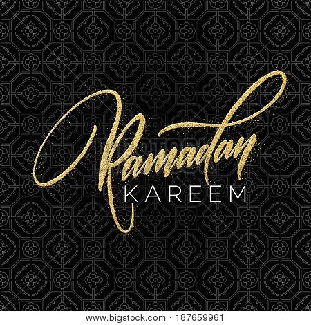 Greeting card with Creative Text Ramadan Kareem made by golden glitter. Vector illustration EPS10