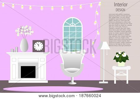 living room with furniture and a fireplace. Flat style vector illustration.
