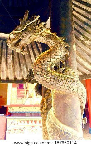 Two Golden Tradition Chinese Dragon Statues Climb The Pole Decoration Elements in Chinese Temple.