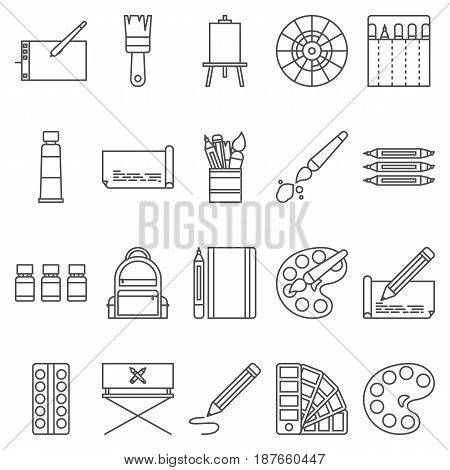 Simple Set ofArtistic Vector LineIcons. Contains suchIconsas palette, watercolors, artistic tools, easel, and more. 48x48 Pixel Perfect.