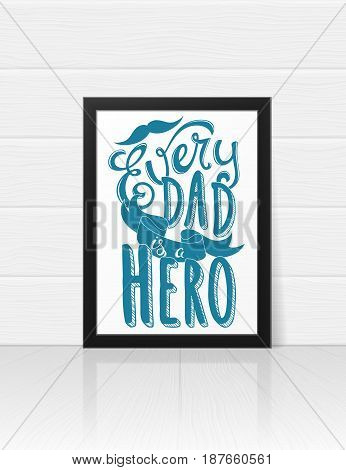 Greeting card template for Happy Fathers Day with hand drawn lettering. Vector illustration