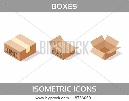 Simple Set of Isometric packaging boxes Vector 3D Icons. Color isometric icons without strokes. Cardboard boxes